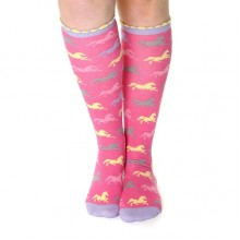 Carrots All Over Horses Sparkle Knee High Socks (Pink)