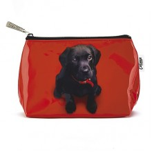 Jellycat Catseye Black Lab On Red Wash Bag