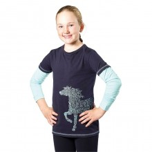 Harry Hall Horse Print Junior Tee Shirt (Navy)