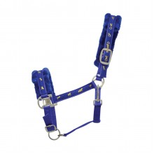 Hy Horse Print Faux Fur Padded Headcollar (Royal Blue)