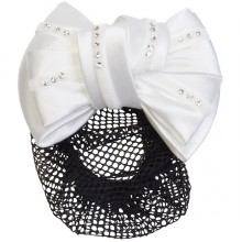Imperial Riding Crystal Hairbow With Net & Clip (White)