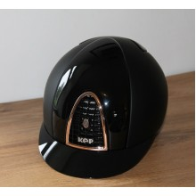 KEP Chromo T Riding Helmet with Polished Inserts & Rose Gold Trim (Black)