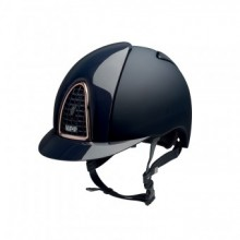 KEP Chromo T Riding Helmet with Polished Inserts & Rose Gold Trim (Navy)