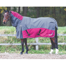 Masta Fieldmasta 200G Fixed Neck Turnout Rug (Grey/ Dark Red)