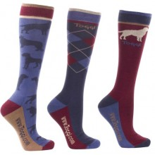 Toggi Oxbridge Mens Three Pack Socks (Blue)