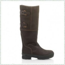 Zoo Twin Buckle High Leather Alieke Country Boot (Coffee)